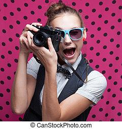 意味深長, 肖像画, の, 女性, カメラマン