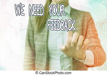 意味, スクリーン, デジタル, 私達, 必要性, 重要, 手書き, テキスト, feedback., 私達, 執筆, 弾力性, 改良しなさい, 何か, 感動的である, 適用, business., 印, あなたの, 詳細, 概念, suggestions, 考え