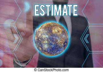 意味, 供給される, 未来派, 計算しなさい, 数, estimate., 量, 手書き, system., 太陽, ...