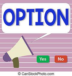 意味, megaphone., ボタン, 能力, 選びなさい, 手書き, はい, 概念, 赤, テキスト, 緑, ∥あるいは∥, option., 何か, いいえ, 選択, 機会, ブランク, 泡, スピーチ