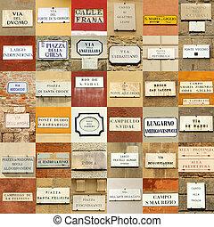 意大利語, 摘要, 牆, 做, ......的, 街道名字, 簽署