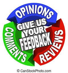 意見, 言葉, 弾力性, comments, レビュー, 私達, 矢, あなたの, フィードバック