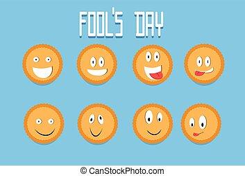 愚か者, クッキー, セット, クラッカー, 漫画, 4 月, 顔, 微笑, 日