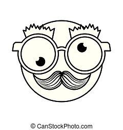 愚か者, emoticon, 顔, ガラス, 口ひげ, 幸せ