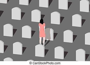 愛された, 女, 訪問, cemetery., 若い, 1(人・つ)