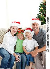 愛らしい, クリスマス, リビングルーム, 家族, モデル