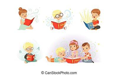 愛らしい, コレクション, 読書, わずかしか, 本, 子供, 想像力, 男の子, 物語, ベクトル, イラスト, すばらしい, 女の子, 妖精
