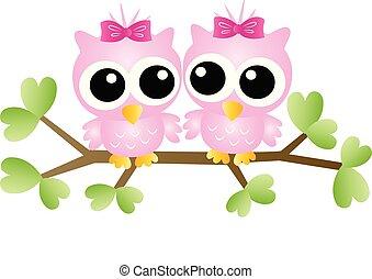 愛らしい, フクロウ, ピンク, モデル, ブランチ, 2