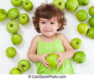 愛らしい, 女の子, あること, ∥で∥, 緑のリンゴ