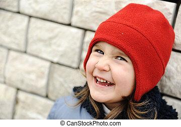 愛らしい, 女の子, ∥で∥, ポジティブ, 微笑の 表面