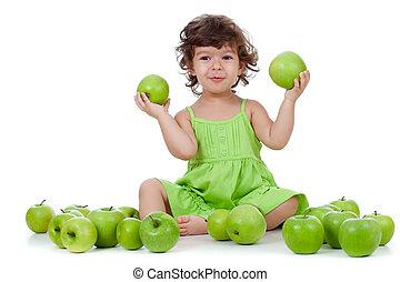 愛らしい, 女の子, モデル, ∥で∥, 緑のリンゴ