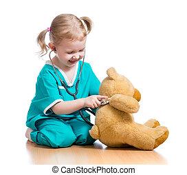 愛らしい, 子供, ∥で∥, 衣服, の, 医者, 遊び, ∥で∥, フラシ天のおもちゃ