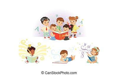 愛らしい, 子供, 本, 読書, わずかしか, コレクション, ベクトル, イラスト, 物語, 妖精