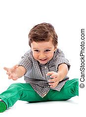 愛らしい, 小さい 男の子, 遊び, 床