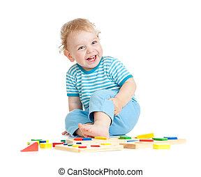 愛らしい, 幸せ, 子が遊ぶ, 教育 おもちゃ, 隔離された, 白