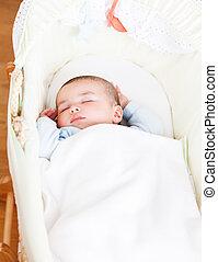 愛らしい, 彼の, 揺りかご, 赤ん坊, 睡眠, クローズアップ