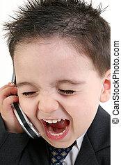 愛らしい, 男の赤ん坊, 中に, スーツ, 叫ぶ, に, 携帯電話