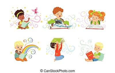 愛らしい, 読書, 本, わずかしか, 男の子, コレクション, ベクトル, イラスト, 物語, 女の子, 妖精