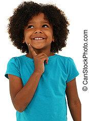 愛らしい, 黒人の少女, 子供, 考え, ジェスチャー, そして, 微笑, 上に, white.