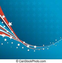 愛国心が強い, アメリカ人, ベクトル, 旗, 背景