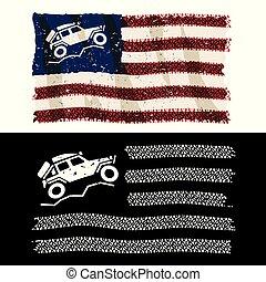 愛国心が強い, 上に, 踏面, ベクトル, 道, イラスト, アメリカ人, 離れて, 隔離された, 4x4, 冒険, タイヤ, 旗, lander