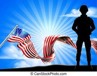 愛国心が強い, 兵士, アメリカの旗, 背景