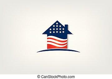 愛国心が強い, 家, 旗, アメリカ, ロゴ