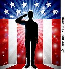 愛国心が強い, 挨拶, アメリカ人, 兵士, 旗