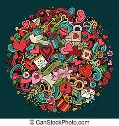 愛, いたずら書き, イラスト, 手, 引かれる, 漫画