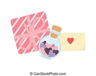 愛, びん, 心, 幸せ, メッセージ, ガラス, 封筒, 贈り物, 日, バレンタイン