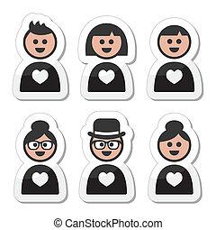 愛, アイコン, poeple, バレンタイン