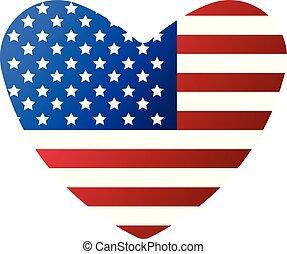 愛, アメリカ, 7月, イラスト, day., 旗, ベクトル, 4, th, icon., 漫画, 独立, 幸せ