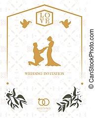 愛, イメージ, 招待, ベクトル, レトロ, 背景, 結婚式, 白