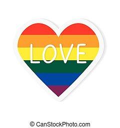 愛, イラスト, 概念, 心, 旗, ベクトル, lgbt, -