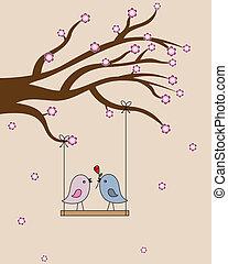 愛, カード, san, valentin., 鳥