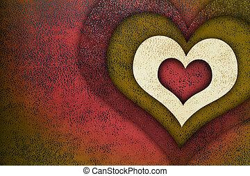 愛, グランジ, 背景, textured