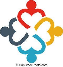 愛, グループ, ビジネス 人々, 人々。, 心配, イラスト, ロゴ, others.