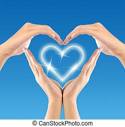 愛, シンボル, 作られた, によって, 手