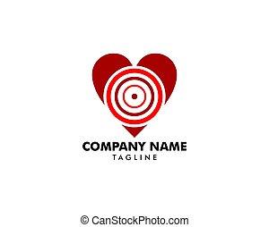 愛, ターゲット, シンボル, 印, ベクトル, ロゴ, アイコン