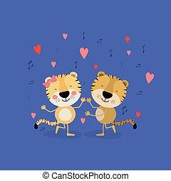 愛, ダンス, 色, 恋人, 背景, トラ