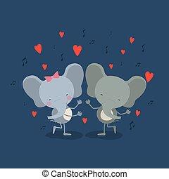 愛, ダンス, 色, 恋人, 象, 背景