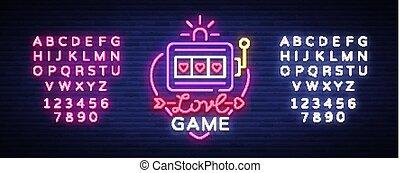愛, テキスト, ネオン 印, 明るい, デザイン, ロゴ, template., 機械, スタイル, スロット, 旗, vector., ギャンブル, シンボル, ゲーム, 広告, 編集, ライト, カジノ, カジノ, gambling., 夜