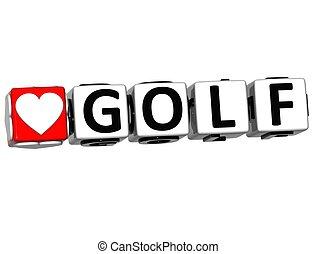 愛, テキスト, ボタン, ここに, ゴルフ, クリック, ブロック, 3d