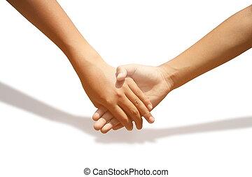 愛, バックグラウンド。, 結び付き, 手を持つ, 白