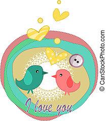 愛, バレンタイン, -, day., 鳥, カード