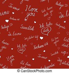 愛, パターン, seamless, 言語, 様々, テキスト, あなた