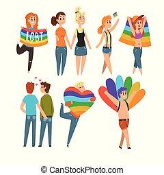 愛, パレード, ゲイである, 人々, 隔離された, 共同体, 誇り, lgbt, ベクトル, 背景, 祝う, 白, イラスト, 漫画