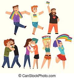 愛, パレード, ゲイである, lgbt, 共同体, 誇り, 祝う, ベクトル, 背景, イラスト, 白, 漫画