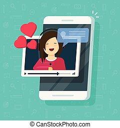 愛, ビデオ, チャット, ガールフレンド, 微笑の女の子, 呼出し, オンラインで, 美しい, 幸せ, 平ら, smartphone, 関係, 話, 電話, デートする, 距離, リモート, イラスト, モビール, ベクトル, ∥あるいは∥