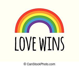 愛, ベクトル, 虹, 誇り, lgbt, 漫画, 白, 勝利, 背景, 平ら, レタリング